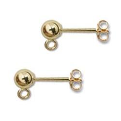 Clous d'oreilles en plaqué or boule 4 mm avec anneau puces tiges