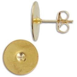 Clous d'oreilles en plaqué or plateau 10 mm la paire