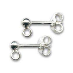 Clous d'oreilles argent 925 anneau et boule 3 mm