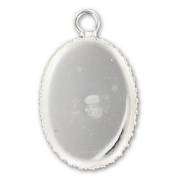 Pendentif argent 925 support cabochon ovale 18 mm x 13 mm