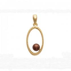 Pendentif mode en plaqué or et perle moka