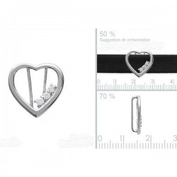 Pendentif coeur en argent 925 et zirconium à insérer sur ruban