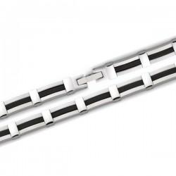 Bracelet en acier et caoutchouc noir largeur 8 mm longueur 21 cm