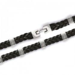 Bracelet en acier et cuir New design 21 cm largeur 12 mm