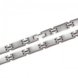 Bracelet new design en acier fermoir plat 21 cm
