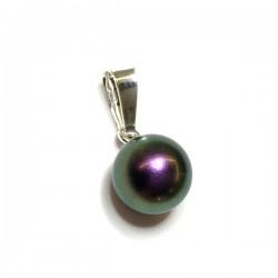 Pendentif boule cristal nacré violet pourpre irisé et argent 925
