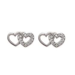 Boucles d'oreilles coeurs en Argent 925 et Zirconium