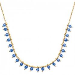 Collier en plaqué or 18 carats et perles bleues en cristal longueur 42 cm