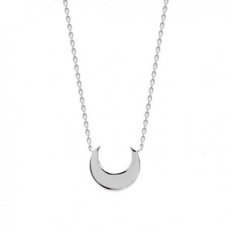 Collier lune en argent massif 925/000 rhodié