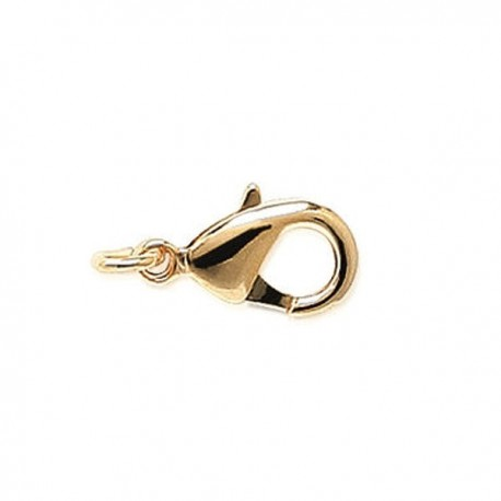 Fermoir mousqueton 10 mm en plaqué or 18 carats + anneau ouvert