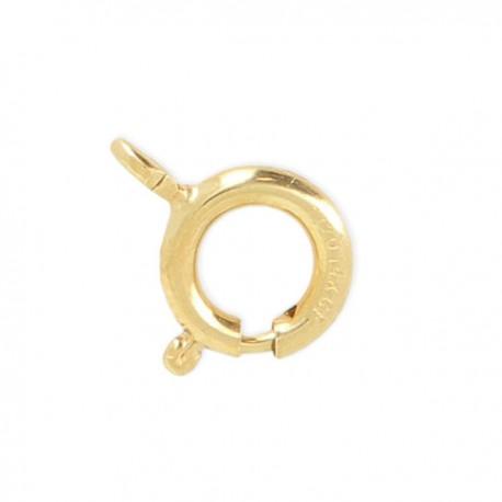 Fermoir mousqueton rond 8 mm en plaqué or avec anneau ouvert