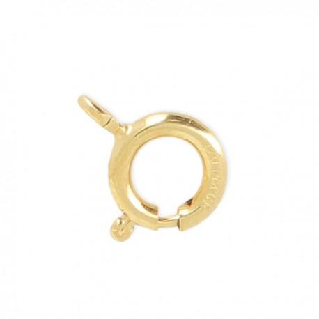 Fermoir mousqueton rond 7 mm en plaqué or avec anneau ouvert