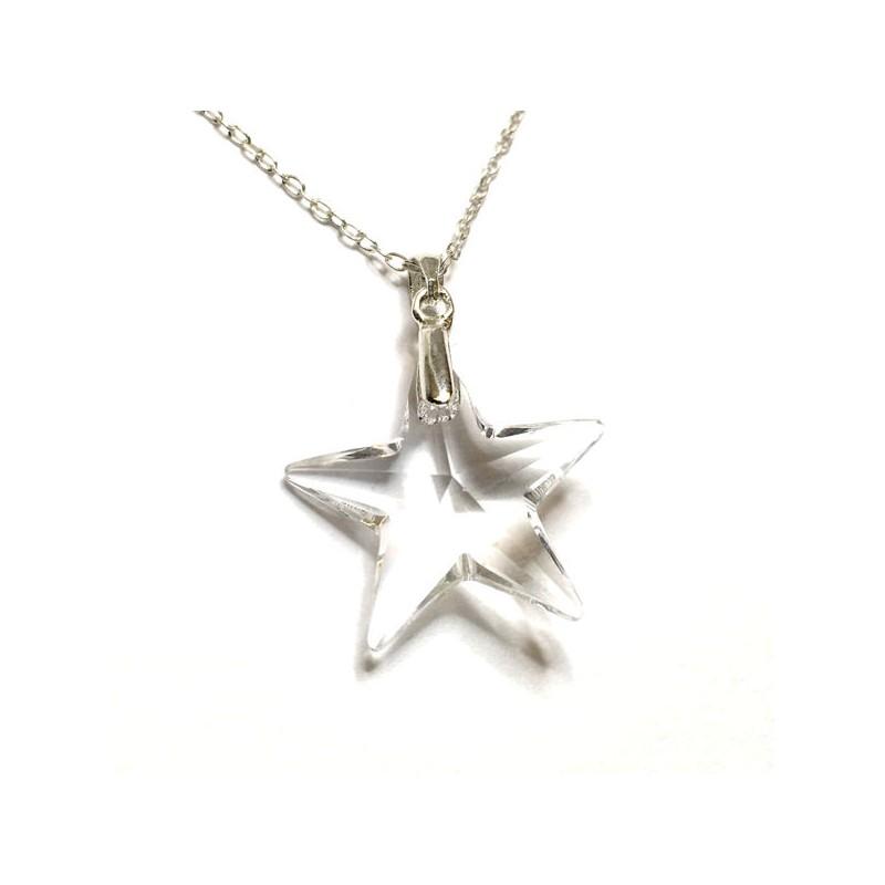 Pendentif étoile en cristal Swarovski et argent 925/000 - Ysia Bijoux