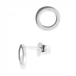 Boucles d'oreilles clous anneaux cercles 8 mm en argent 925/000