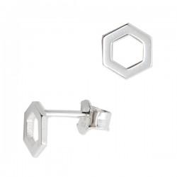 Boucles d'oreilles clous géométriques hexagones 8 x 7 mm en argent 925