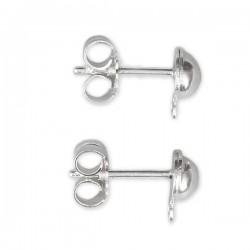 Clous d'oreilles demi boule en argent 925 avec support anneau à décorer