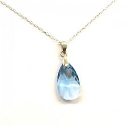 Pendentif petite goutte cristal Swarovski bleu topaze et argent 925/000