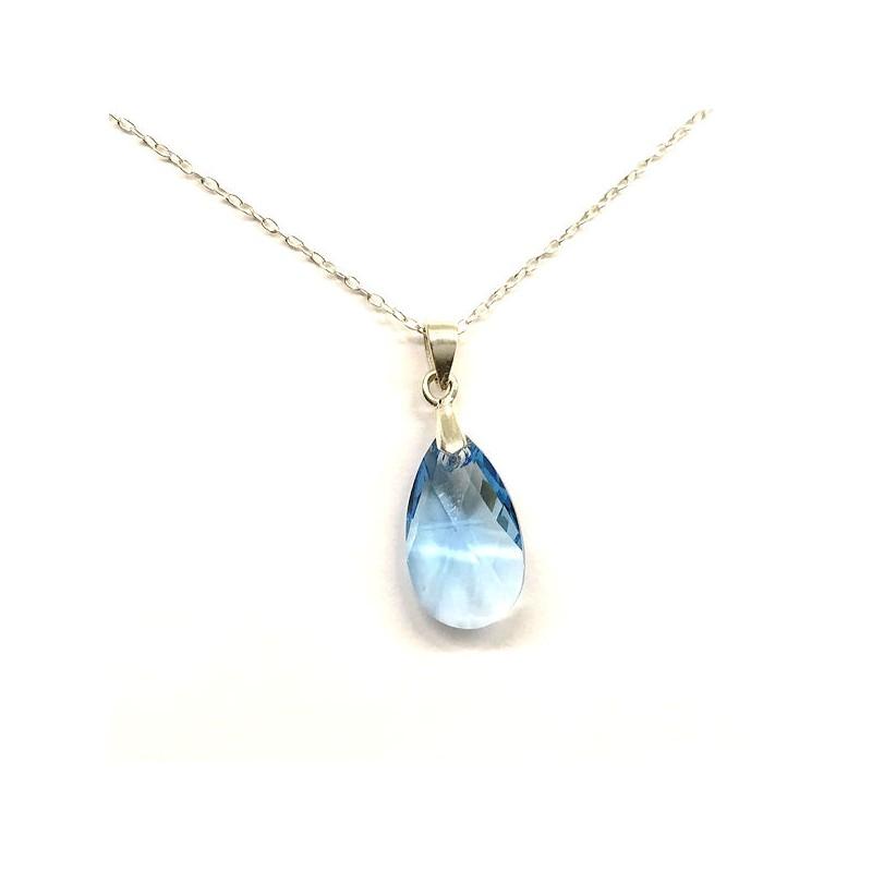 Pendentif petite goutte cristal Swarovski bleu topaze et argent 925/000 -  Ysia Bijoux