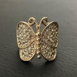 Bague fantaisie papillon en plaqué or