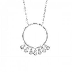Collier argent 925/000 pendentif anneau petites pampilles zirconium