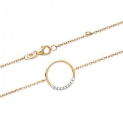 Bracelet anneau en plaqué or 18 carats et zirconium