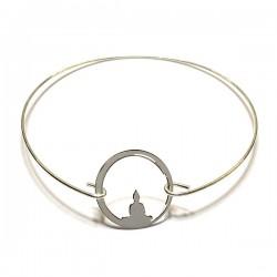Bracelet jonc fin Bouddha en argent 925/000