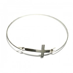 Bracelet jonc fin croix en argent 925/000