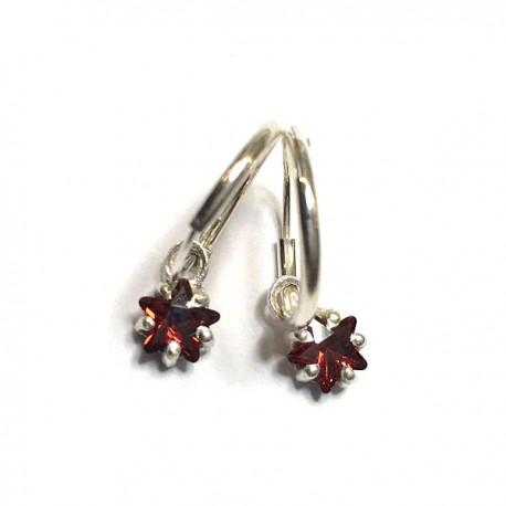 Boucles d'oreilles créoles argent 925 pendants étoiles zirconium rouge