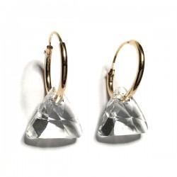 Boucles d'oreilles créoles Plaqué Or 18 carats triangles cristal Swarovski