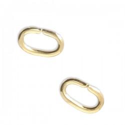 Anneaux ovales plaqué or 18 carats ouverts 5,6 x 3,4 mm x fil 0,9 mm