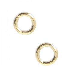 Anneaux ronds ouverts plaqué or 18 carats 5 mm x fil 0,9 mm - Lot de 4