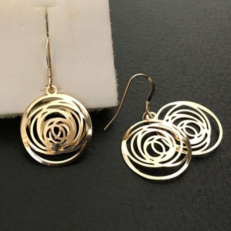 Boucles d'oreilles fantaisie plaqué or pendants ronds travaillés ouvragés
