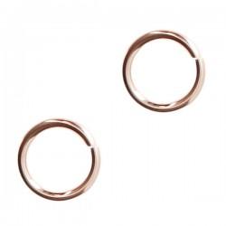 Lot de 3 - Anneaux ronds ouverts 7 mm x 1 mm en plaqué or rose 14 carats