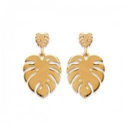 Boucles d'oreilles feuilles tropicales en plaqué or 18 carats