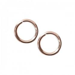 Lot de 3 - Anneaux ronds ouverts 8 mm x 1 mm en plaqué or rose 14 carats