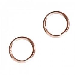 Lot de 5 - Anneaux ronds ouverts 5 mm x 1 mm en plaqué or rose