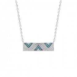 Collier pendentif rectangle argent 925/000 motifs ethniques pierres bleues