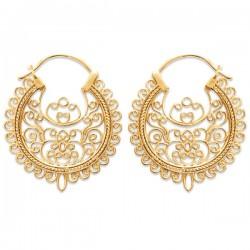 Boucles d'oreilles créoles en plaqué or 18 carats style dentelle