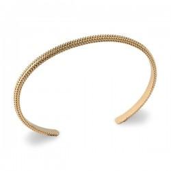 Bracelet jonc travaillé en plaqué or 18 carats diamètre 58 mm