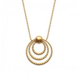 Collier plaqué or 18 carats pendentif multi anneaux Bijou tendance