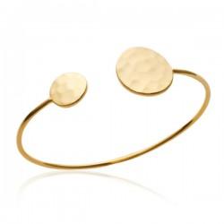 Bracelet jonc en Plaqué Or 18 carats disques martelés