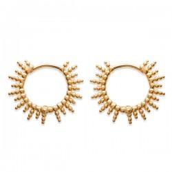 Boucles d'oreilles créoles soleil en plaqué or 18 carats