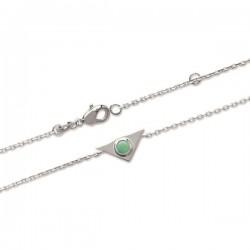 Bracelet triangle en argent massif 925/000 rhodié et pierre aventurine