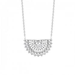 Collier argent massif 925/000 rhodié pendentif style dentelle