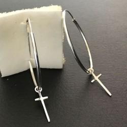 Boucles d'oreilles créoles argent 925/000 diamètre 35 mm pendants croix