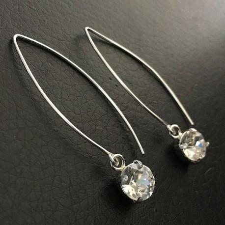 Boucles d'oreilles argent 925 grands crochets cristal Swarovski griffés