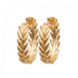 Boucles d'oreilles créoles épis de blé en plaqué or 18 carats