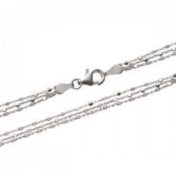 Bracelet 3 rangs en argent massif 925/000 rhodié