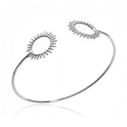 Bracelet jonc soleil en argent massif 925/000 rhodié diamètre 58 mm