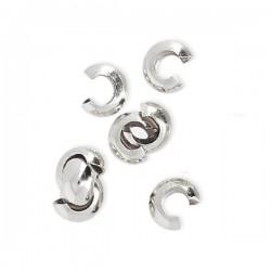 Caches noeuds perles à écraser 3 mm en argent 925 Lot de 10 pièces